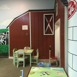 Barnyard area for kids in the back room of the Cow Cafe.
