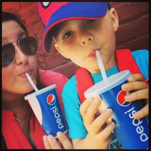 Miles and I partaking in delicious Pepsi refreshments on a warm Saturday afternoon